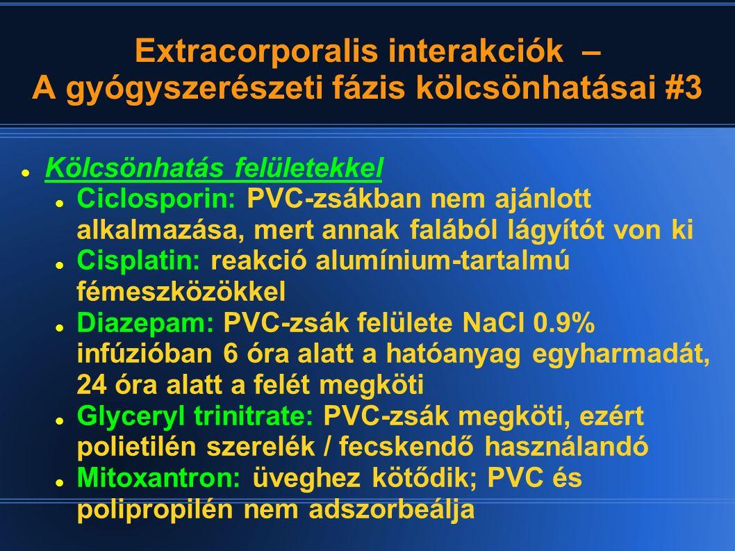 Extracorporalis interakciók – Interferencia laborvizsgálatokkal #1 ALP: emelkedik – humán serum albumin Húgysav: emelkedik – redukciós elvű kimutatásnál aspirin, hemolysis, fehérje, theophyllin, theobromin, koffein esetében AST: emelkedik – erythromycin jelenlétében kolorimetriás módszereknél; UV-módszereknél nem.