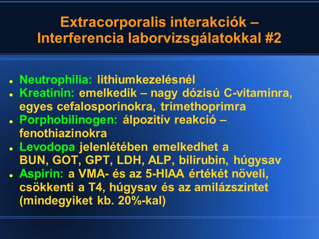 Extracorporalis interakciók – Interferencia laborvizsgálatokkal #2 Neutrophilia: lithiumkezelésnél Kreatinin: emelkedik – nagy dózisú C-vitaminra, egy