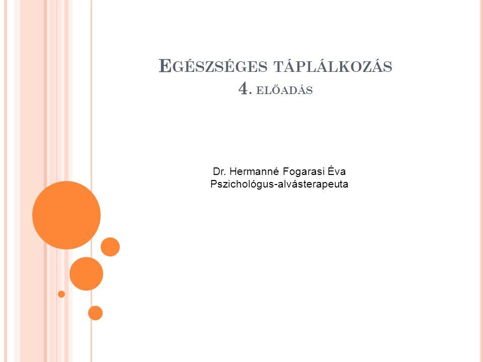 E GÉSZSÉGES TÁPLÁLKOZÁS 4. ELŐADÁS Dr. Hermanné Fogarasi Éva Pszichológus-alvásterapeuta