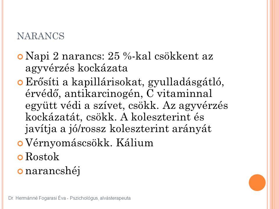 NARANCS Napi 2 narancs: 25 %-kal csökkent az agyvérzés kockázata Erősíti a kapillárisokat, gyulladásgátló, érvédő, antikarcinogén, C vitaminnal együtt