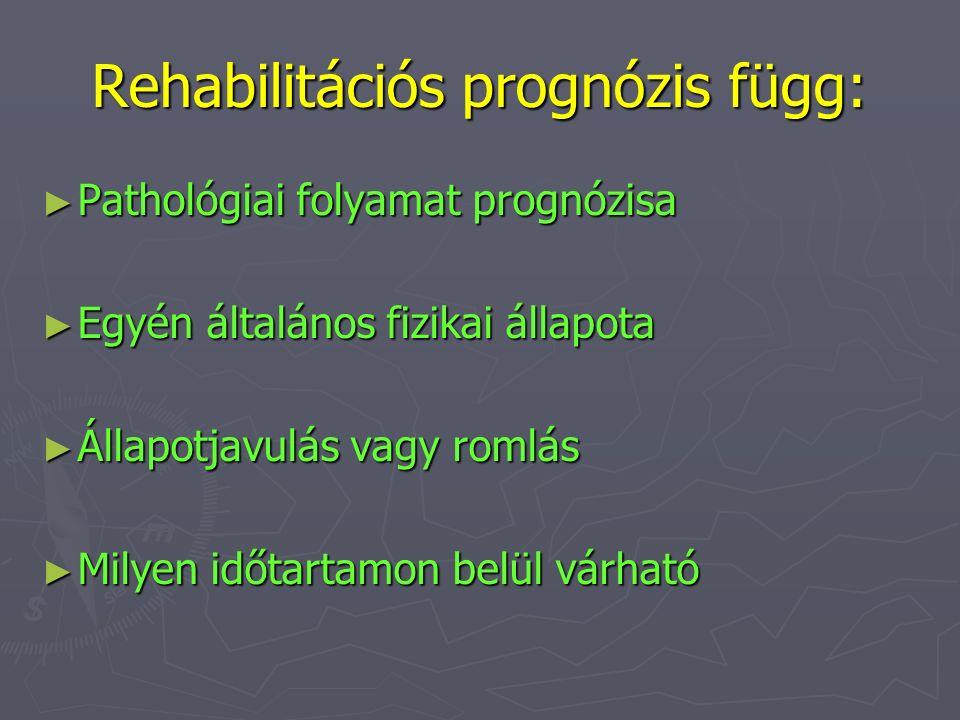 Rehabilitációs prognózis függ: ► Pathológiai folyamat prognózisa ► Egyén általános fizikai állapota ► Állapotjavulás vagy romlás ► Milyen időtartamon