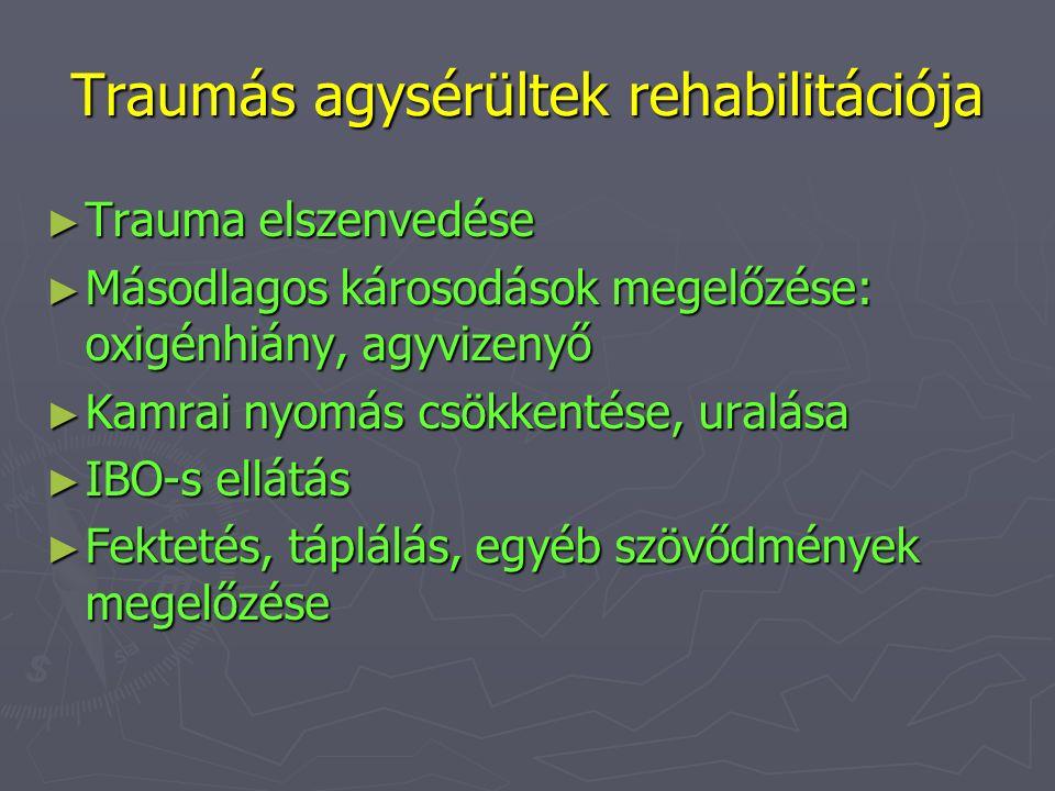 Traumás agysérültek rehabilitációja ► Trauma elszenvedése ► Másodlagos károsodások megelőzése: oxigénhiány, agyvizenyő ► Kamrai nyomás csökkentése, ur