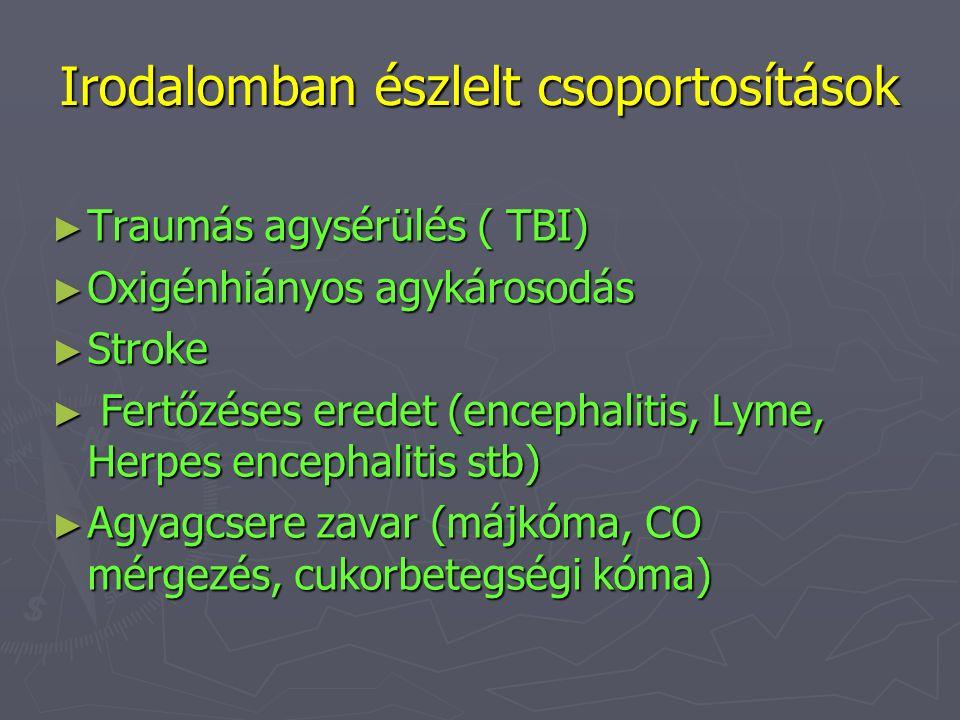 Irodalomban észlelt csoportosítások ► Traumás agysérülés ( TBI) ► Oxigénhiányos agykárosodás ► Stroke ► Fertőzéses eredet (encephalitis, Lyme, Herpes