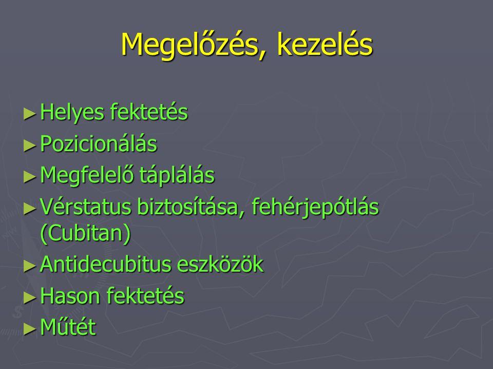 Megelőzés, kezelés ► Helyes fektetés ► Pozicionálás ► Megfelelő táplálás ► Vérstatus biztosítása, fehérjepótlás (Cubitan) ► Antidecubitus eszközök ► H