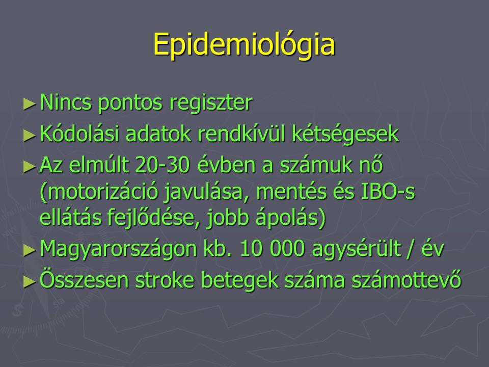 Epidemiológia ► Nincs pontos regiszter ► Kódolási adatok rendkívül kétségesek ► Az elmúlt 20-30 évben a számuk nő (motorizáció javulása, mentés és IBO