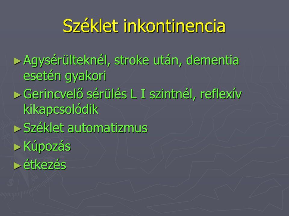 Széklet inkontinencia ► Agysérülteknél, stroke után, dementia esetén gyakori ► Gerincvelő sérülés L I szintnél, reflexív kikapcsolódik ► Széklet autom
