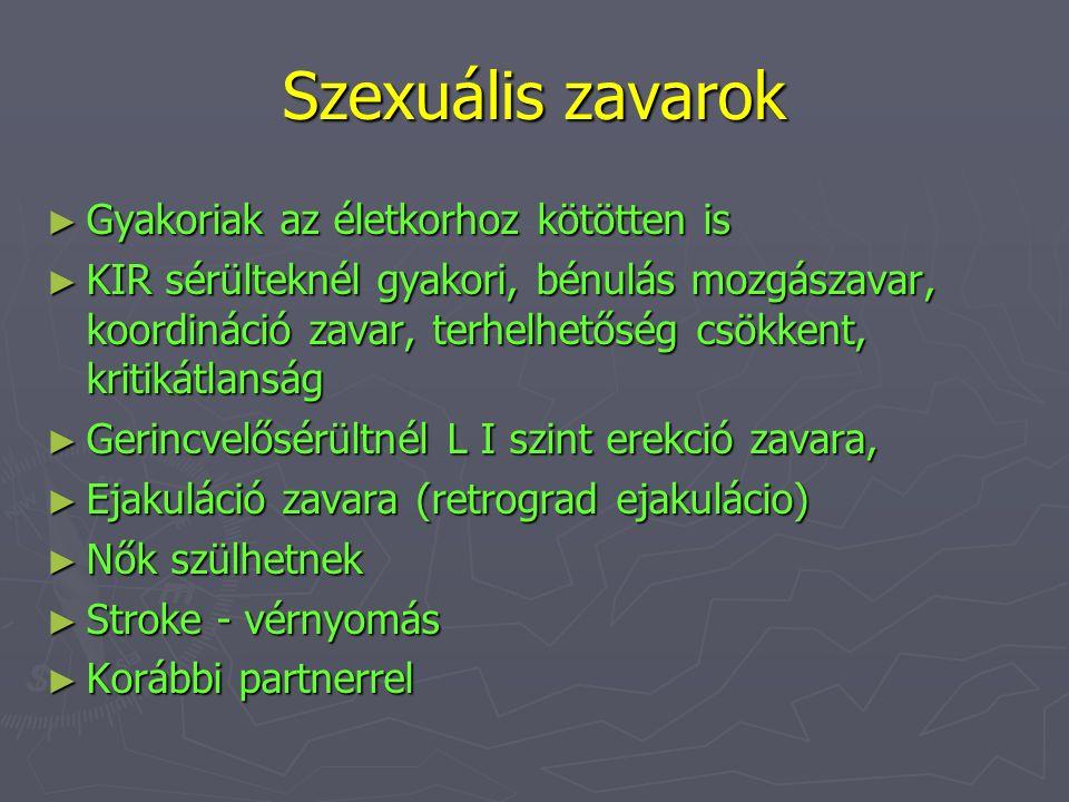 Szexuális zavarok ► Gyakoriak az életkorhoz kötötten is ► KIR sérülteknél gyakori, bénulás mozgászavar, koordináció zavar, terhelhetőség csökkent, kri