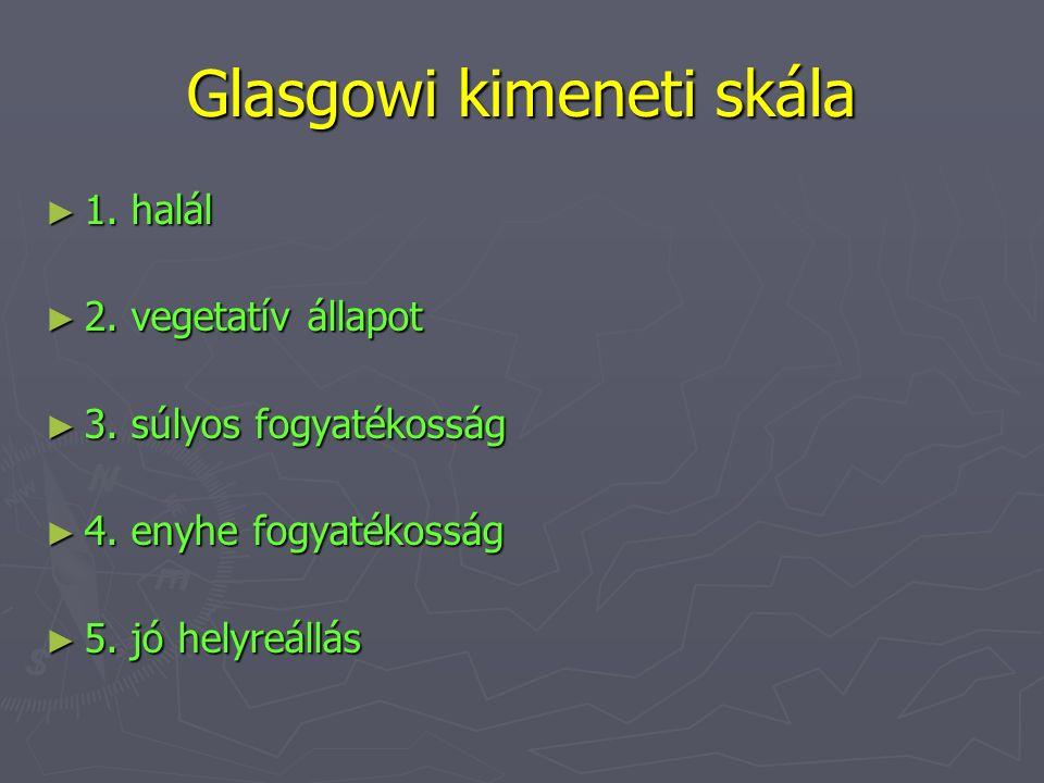 Glasgowi kimeneti skála ► 1. halál ► 2. vegetatív állapot ► 3. súlyos fogyatékosság ► 4. enyhe fogyatékosság ► 5. jó helyreállás
