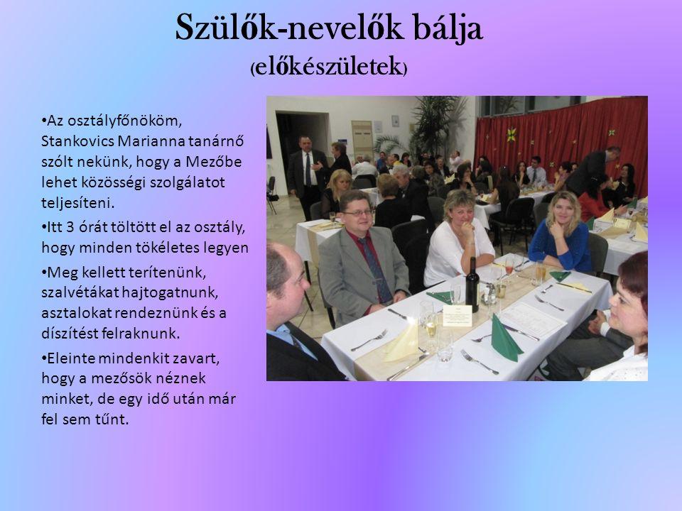Szül ő k-nevel ő k bálja ( el ő készületek ) Az osztályfőnököm, Stankovics Marianna tanárnő szólt nekünk, hogy a Mezőbe lehet közösségi szolgálatot teljesíteni.