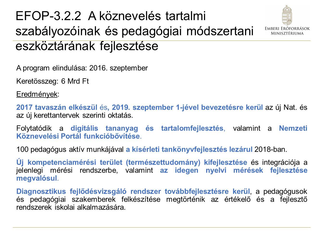 A program elindulása: 2016. szeptember Keretösszeg: 6 Mrd Ft Eredmények: 2017 tavaszán elkészül és, 2019. szeptember 1-jével bevezetésre kerül az új N