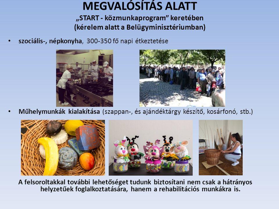 """MEGVALÓSÍTÁS ALATT """"START - közmunkaprogram keretében (kérelem alatt a Belügyminisztériumban) szociális-, népkonyha, 300-350 fő napi étkeztetése Műhelymunkák kialakítása (szappan-, és ajándéktárgy készítő, kosárfonó, stb.) A felsoroltakkal további lehetőséget tudunk biztosítani nem csak a hátrányos helyzetűek foglalkoztatására, hanem a rehabilitációs munkákra is."""