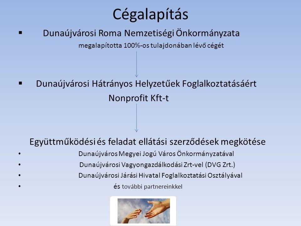 Cégalapítás  Dunaújvárosi Roma Nemzetiségi Önkormányzata megalapította 100%-os tulajdonában lévő cégét  Dunaújvárosi Hátrányos Helyzetűek Foglalkoztatásáért Nonprofit Kft-t Együttműködési és feladat ellátási szerződések megkötése Dunaújváros Megyei Jogú Város Önkormányzatával Dunaújvárosi Vagyongazdálkodási Zrt-vel (DVG Zrt.) Dunaújvárosi Járási Hivatal Foglalkoztatási Osztályával és további partnereinkkel