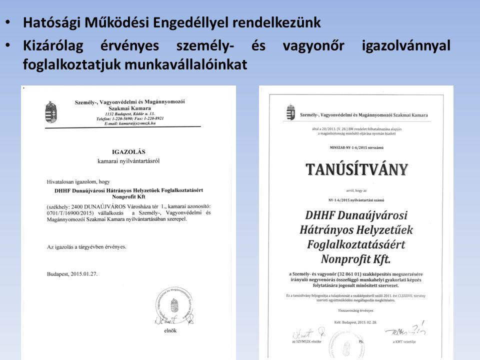 Hatósági Működési Engedéllyel rendelkezünk Kizárólag érvényes személy- és vagyonőr igazolvánnyal foglalkoztatjuk munkavállalóinkat