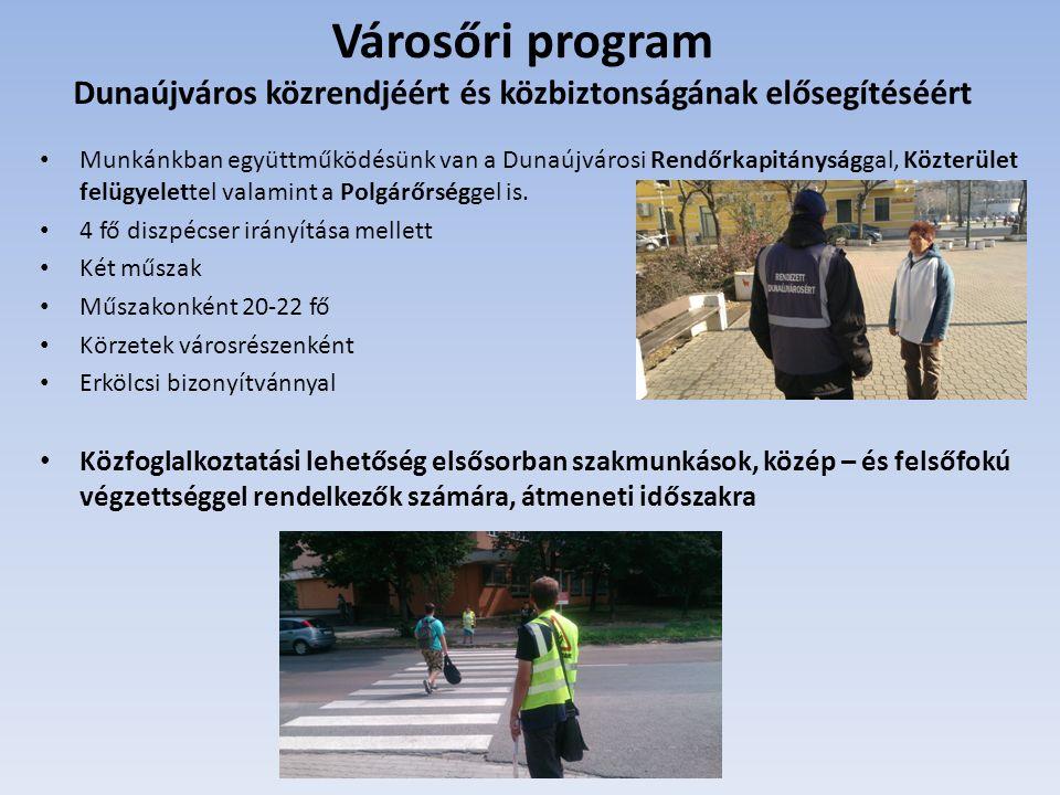 Városőri program Dunaújváros közrendjéért és közbiztonságának elősegítéséért Munkánkban együttműködésünk van a Dunaújvárosi Rendőrkapitánysággal, Közterület felügyelettel valamint a Polgárőrséggel is.
