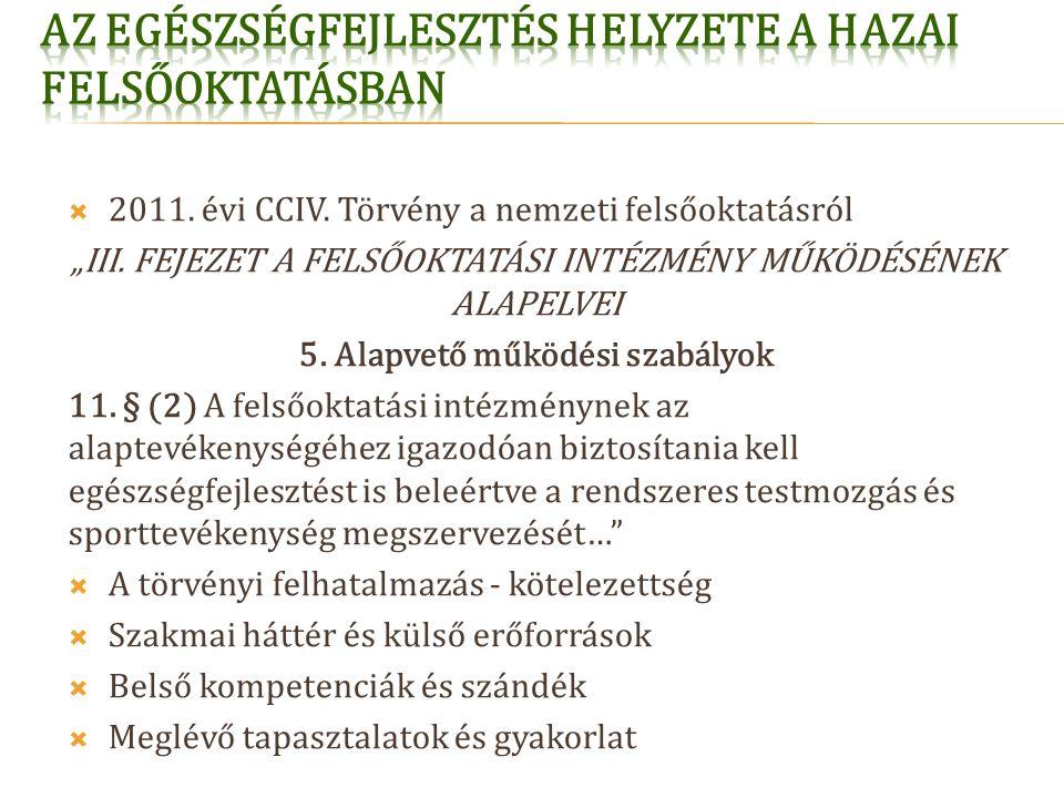 """ 2011. évi CCIV. Törvény a nemzeti felsőoktatásról """"III."""