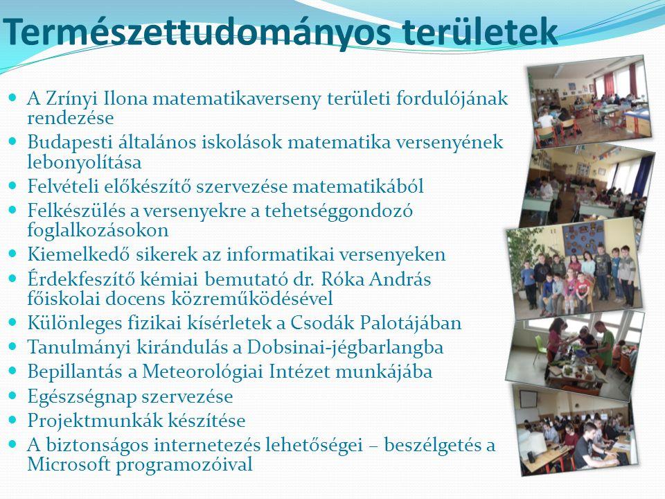 Természettudományos területek A Zrínyi Ilona matematikaverseny területi fordulójának rendezése Budapesti általános iskolások matematika versenyének lebonyolítása Felvételi előkészítő szervezése matematikából Felkészülés a versenyekre a tehetséggondozó foglalkozásokon Kiemelkedő sikerek az informatikai versenyeken Érdekfeszítő kémiai bemutató dr.