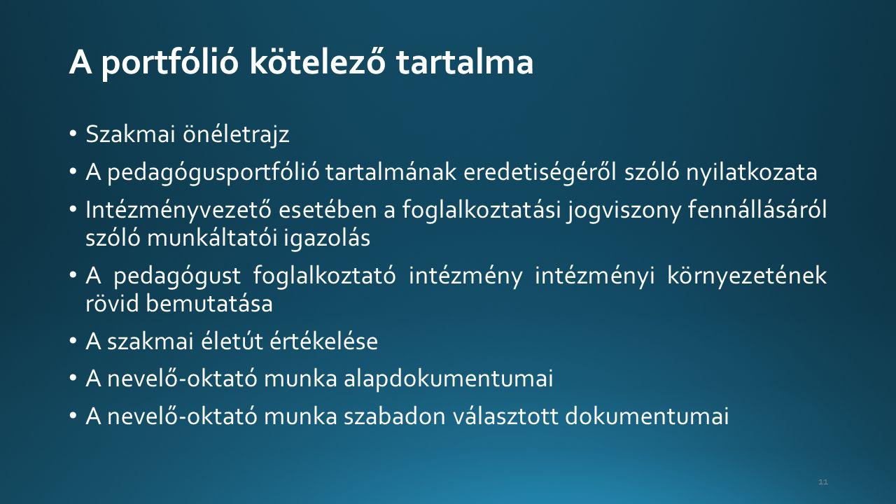 A portfólió kötelező tartalma Szakmai önéletrajz A pedagógusportfólió tartalmának eredetiségéről szóló nyilatkozata Intézményvezető esetében a foglalkoztatási jogviszony fennállásáról szóló munkáltatói igazolás A pedagógust foglalkoztató intézmény intézményi környezetének rövid bemutatása A szakmai életút értékelése A nevelő-oktató munka alapdokumentumai A nevelő-oktató munka szabadon választott dokumentumai 11