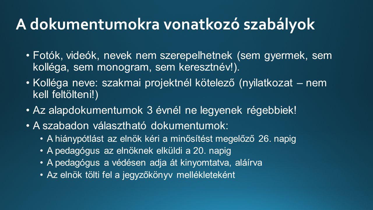 A dokumentumokra vonatkozó szabályok Fotók, videók, nevek nem szerepelhetnek (sem gyermek, sem kolléga, sem monogram, sem keresztnév!).