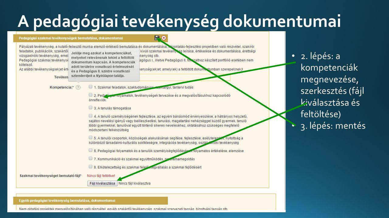 A pedagógiai tevékenység dokumentumai 2.