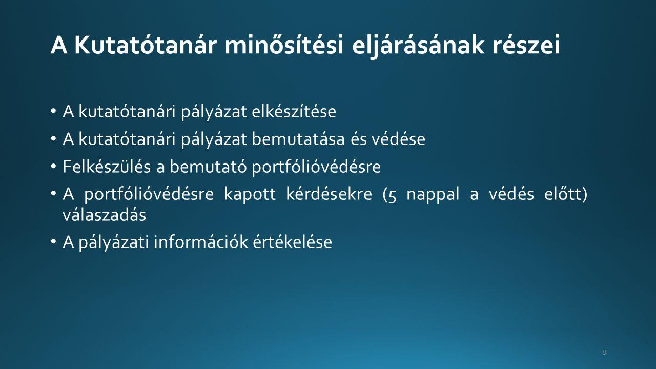 A Kutatótanár minősítési eljárásának részei A kutatótanári pályázat elkészítése A kutatótanári pályázat bemutatása és védése Felkészülés a bemutató portfólióvédésre A portfólióvédésre kapott kérdésekre (5 nappal a védés előtt) válaszadás A pályázati információk értékelése 8