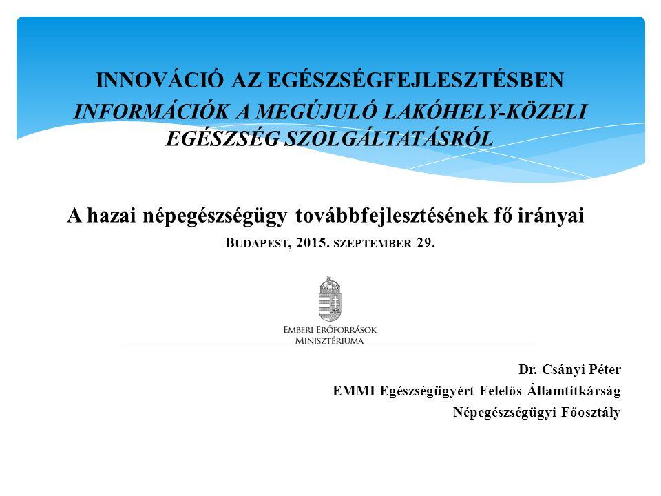 INNOVÁCIÓ AZ EGÉSZSÉGFEJLESZTÉSBEN INFORMÁCIÓK A MEGÚJULÓ LAKÓHELY-KÖZELI EGÉSZSÉG SZOLGÁLTATÁSRÓL A hazai népegészségügy továbbfejlesztésének fő irán