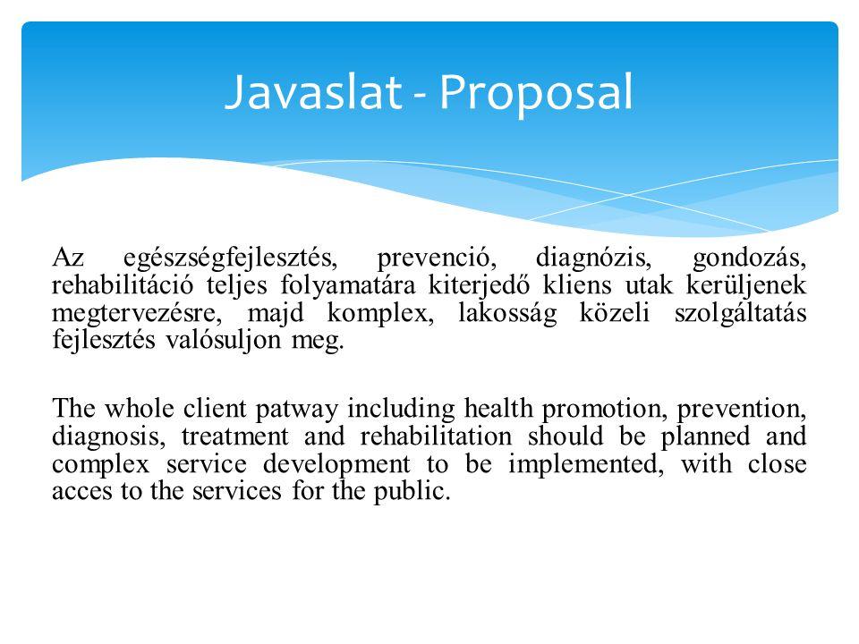 Javaslat - Proposal Az egészségfejlesztés, prevenció, diagnózis, gondozás, rehabilitáció teljes folyamatára kiterjedő kliens utak kerüljenek megtervezésre, majd komplex, lakosság közeli szolgáltatás fejlesztés valósuljon meg.