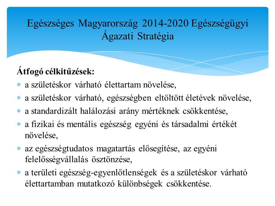 Egészséges Magyarország 2014-2020 Egészségügyi Ágazati Stratégia Átfogó célkitűzések:  a születéskor várható élettartam növelése,  a születéskor várható, egészségben eltöltött életévek növelése,  a standardizált halálozási arány mértéknek csökkentése,  a fizikai és mentális egészség egyéni és társadalmi értékét növelése,  az egészségtudatos magatartás elősegítése, az egyéni felelősségvállalás ösztönzése,  a területi egészség-egyenlőtlenségek és a születéskor várható élettartamban mutatkozó különbségek csökkentése.