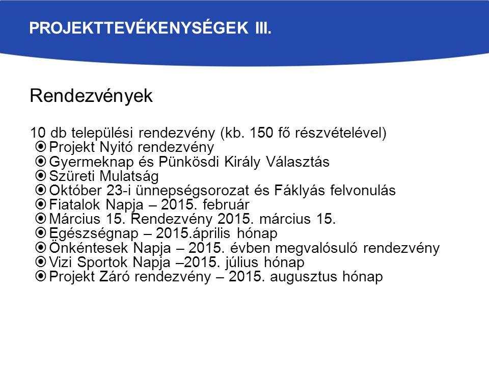 PROJEKTTEVÉKENYSÉGEK III. Rendezvények 10 db települési rendezvény (kb.