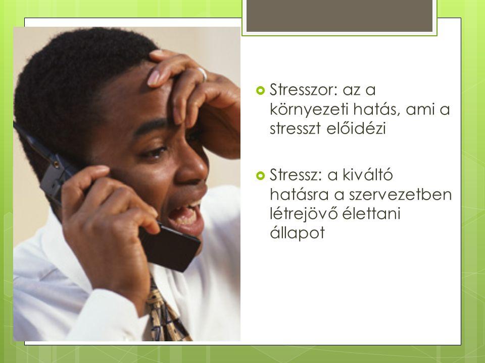  Stresszor: az a környezeti hatás, ami a stresszt előidézi  Stressz: a kiváltó hatásra a szervezetben létrejövő élettani állapot