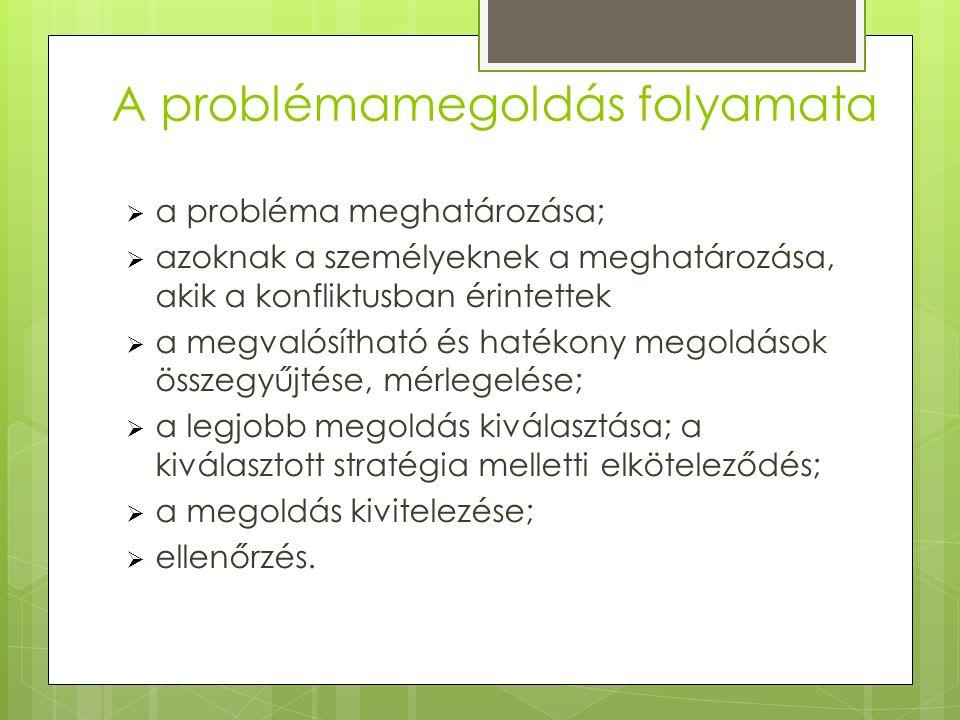 A problémamegoldás folyamata  a probléma meghatározása;  azoknak a személyeknek a meghatározása, akik a konfliktusban érintettek  a megvalósítható