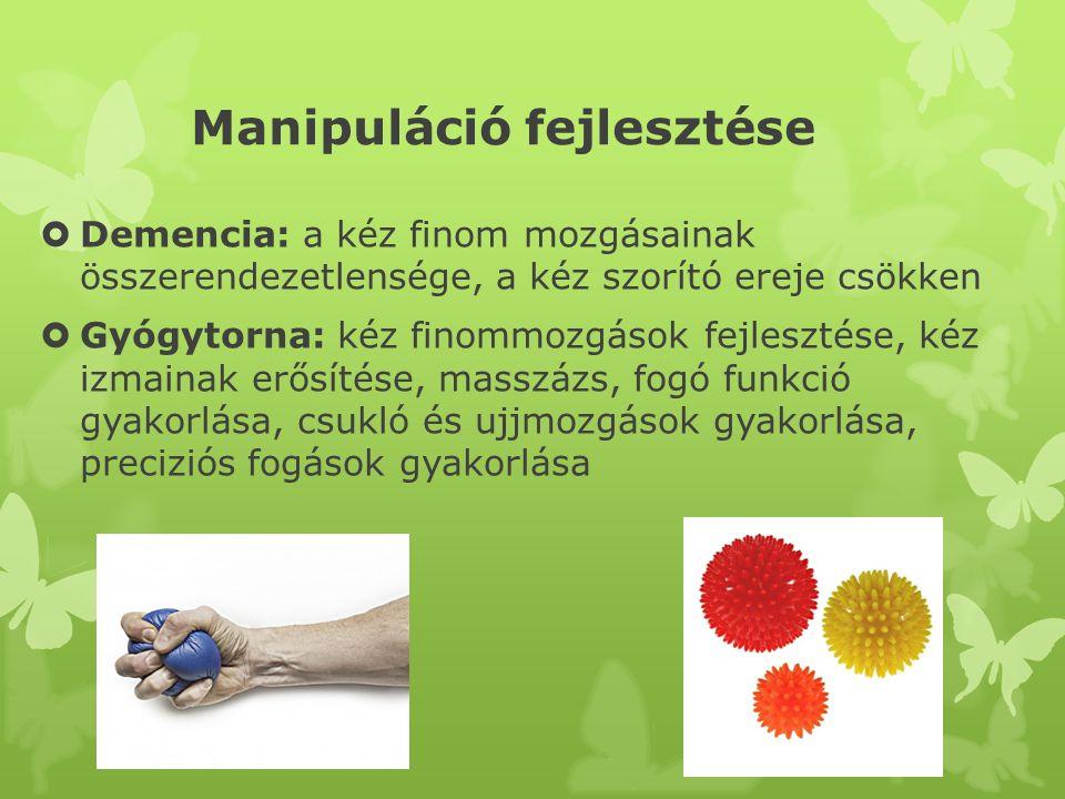Manipuláció fejlesztése  Demencia: a kéz finom mozgásainak összerendezetlensége, a kéz szorító ereje csökken  Gyógytorna: kéz finommozgások fejleszt