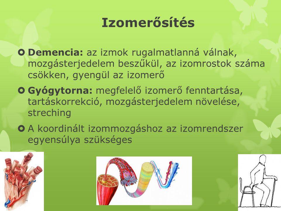 Izomerősítés  Demencia: az izmok rugalmatlanná válnak, mozgásterjedelem beszűkül, az izomrostok száma csökken, gyengül az izomerő  Gyógytorna: megfe