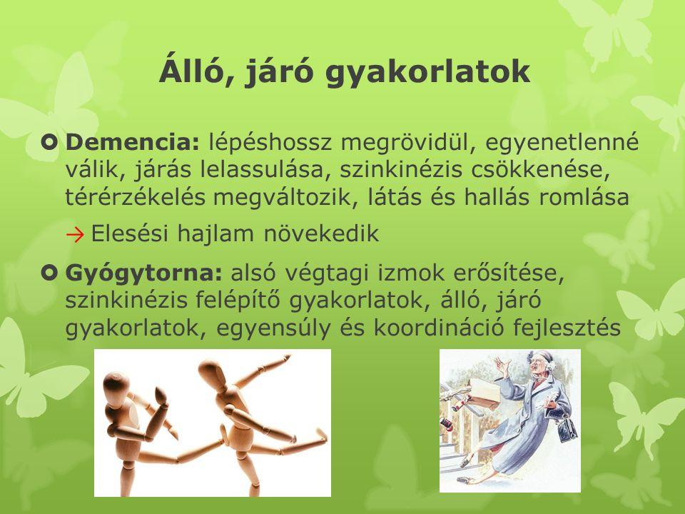 Álló, járó gyakorlatok  Demencia: lépéshossz megrövidül, egyenetlenné válik, járás lelassulása, szinkinézis csökkenése, térérzékelés megváltozik, lát