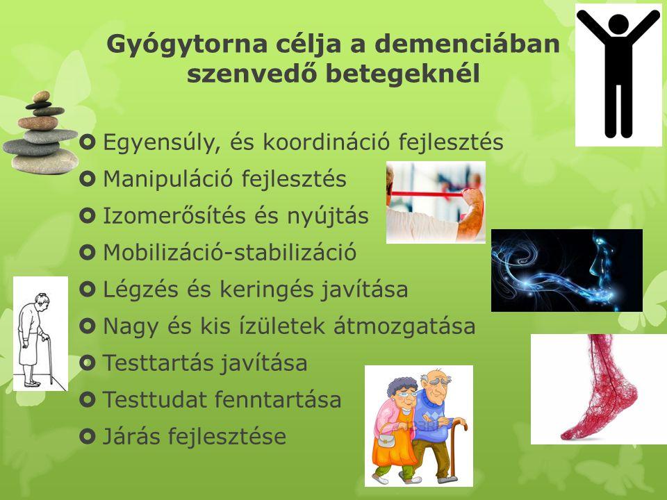 Egyensúly fejlesztés  Receptorok sejtek információt adnak az a test térbeli elhelyezkedéséről  Demencia: a stabilizáló izmok meggyengülnek, reflexek lelassulnak, romlanak az érzékek  Gyógytorna: instabil felületek használata, álló gyakorlat fokozatosan csökkentve az alátámasztási felületet, járás közben felső végtagi gyakorlatok