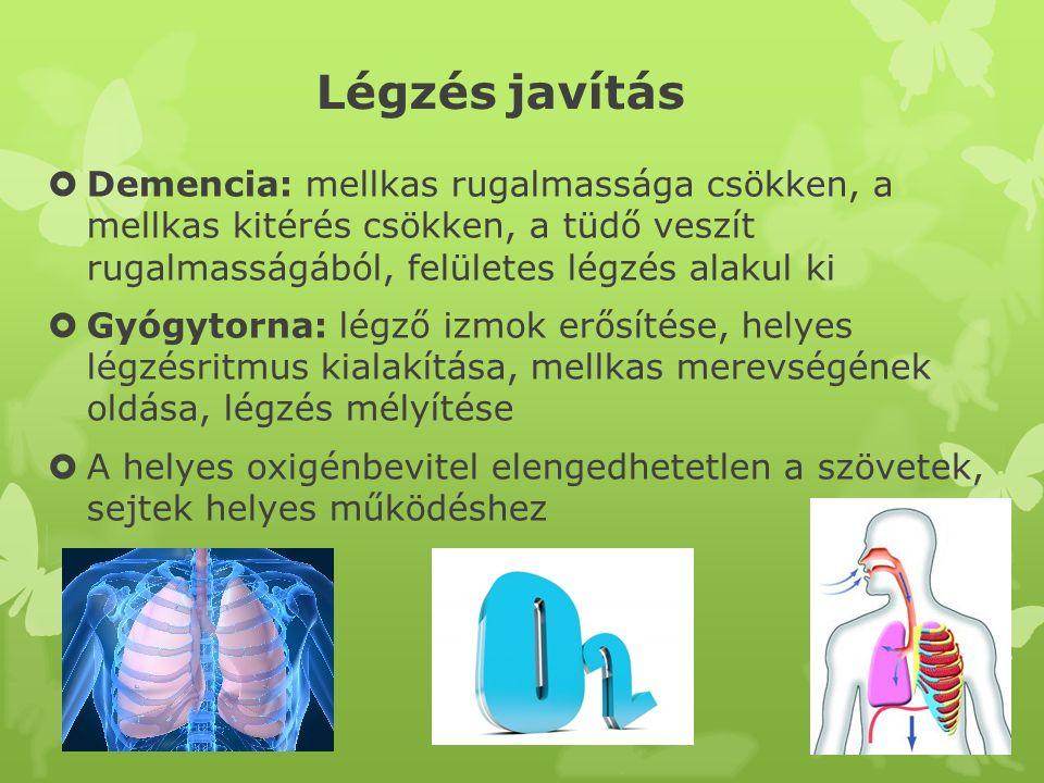 Légzés javítás  Demencia: mellkas rugalmassága csökken, a mellkas kitérés csökken, a tüdő veszít rugalmasságából, felületes légzés alakul ki  Gyógyt