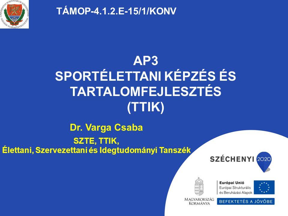 AP3 SPORTÉLETTANI KÉPZÉS ÉS TARTALOMFEJLESZTÉS (TTIK) TÁMOP-4.1.2.E-15/1/KONV Dr.