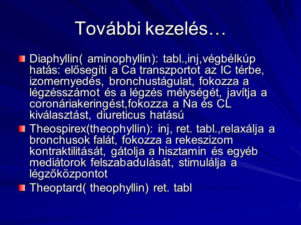 További kezelés… Diaphyllin( aminophyllin): tabl.,inj,végbélkúp hatás: elősegíti a Ca transzportot az IC térbe, izomernyedés, bronchustágulat, fokozza