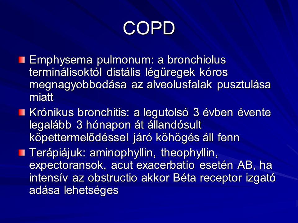 COPD Emphysema pulmonum: a bronchiolus terminálisoktól distális légüregek kóros megnagyobbodása az alveolusfalak pusztulása miatt Krónikus bronchitis: