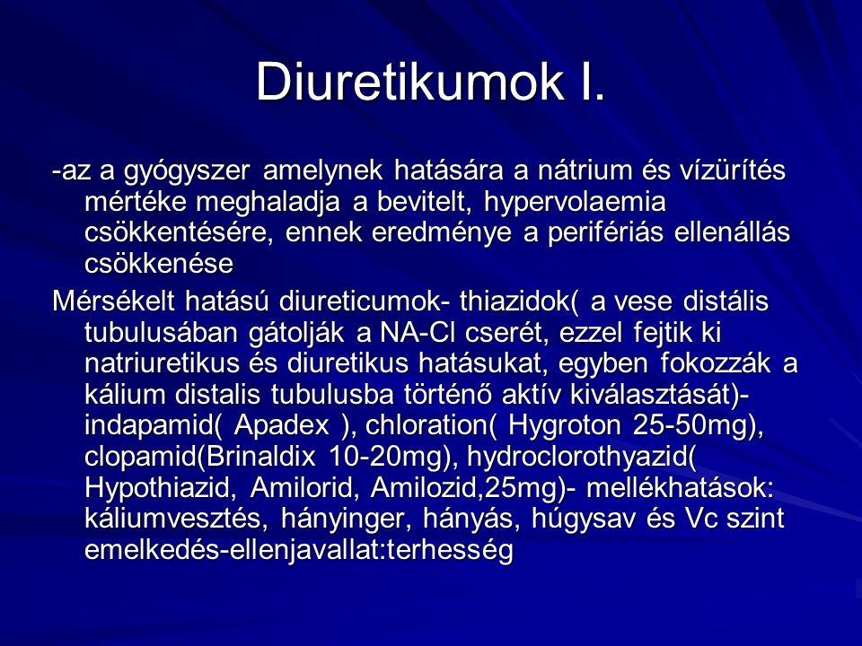 Diuretikumok I. -az a gyógyszer amelynek hatására a nátrium és vízürítés mértéke meghaladja a bevitelt, hypervolaemia csökkentésére, ennek eredménye a