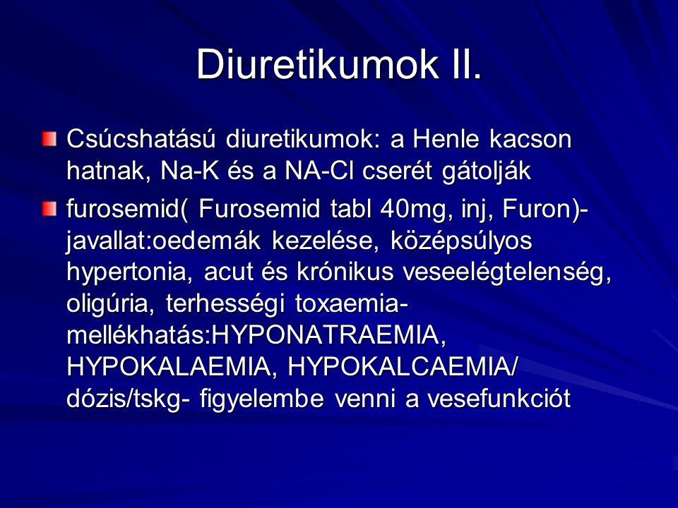 Diuretikumok II. Csúcshatású diuretikumok: a Henle kacson hatnak, Na-K és a NA-Cl cserét gátolják furosemid( Furosemid tabl 40mg, inj, Furon)- javalla