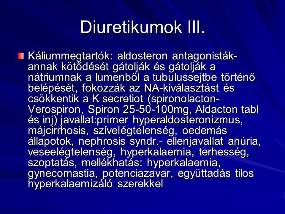 Diuretikumok III. Káliummegtartók: aldosteron antagonisták- annak kötődését gátolják és gátolják a nátriumnak a lumenből a tubulussejtbe történő belép