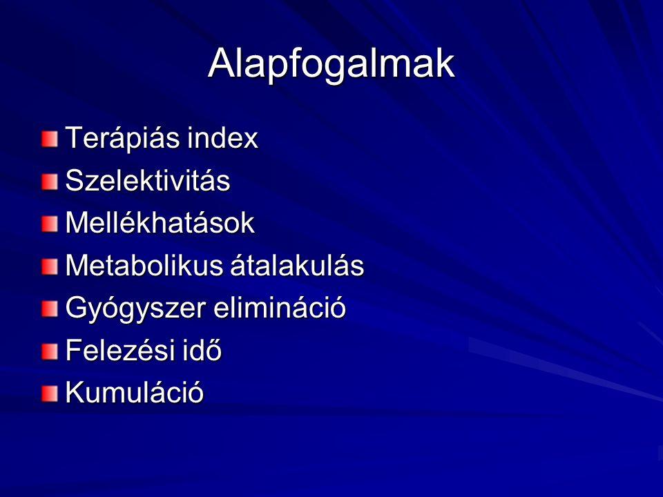 Alapfogalmak Terápiás index SzelektivitásMellékhatások Metabolikus átalakulás Gyógyszer elimináció Felezési idő Kumuláció