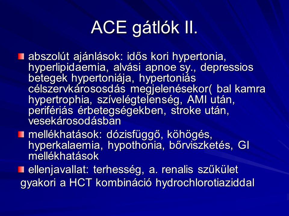 ACE gátlók II. abszolút ajánlások: idős kori hypertonia, hyperlipidaemia, alvási apnoe sy., depressios betegek hypertoniája, hypertoniás célszervkáros