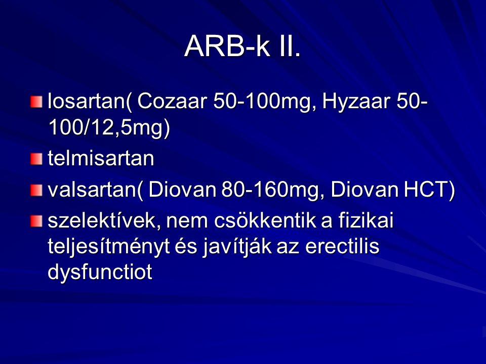 ARB-k II. losartan( Cozaar 50-100mg, Hyzaar 50- 100/12,5mg) telmisartan valsartan( Diovan 80-160mg, Diovan HCT) szelektívek, nem csökkentik a fizikai