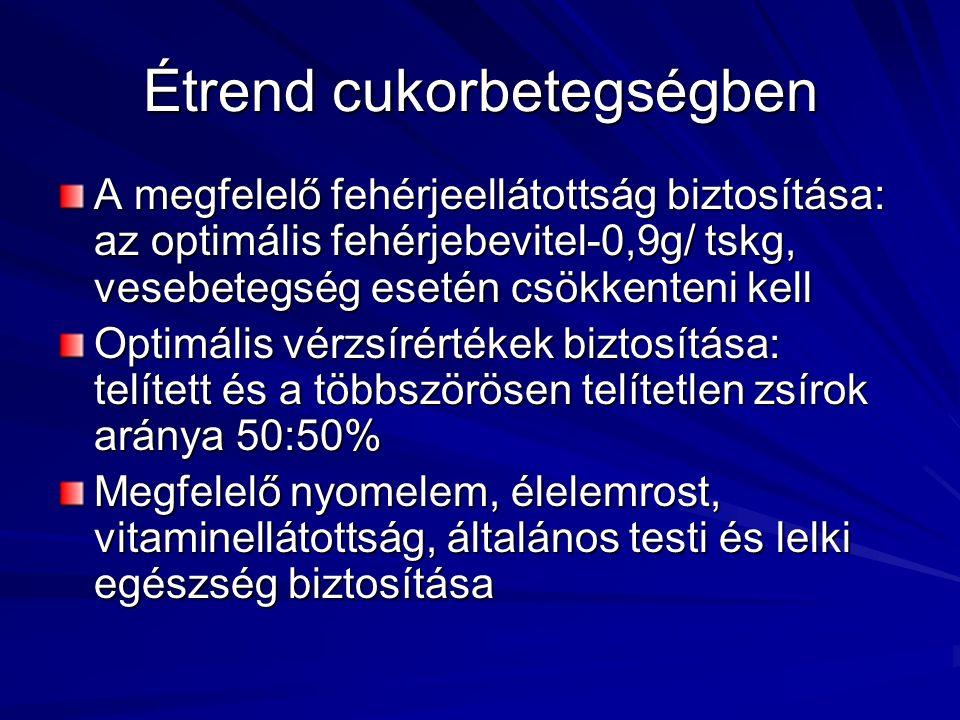 Étrend cukorbetegségben A megfelelő fehérjeellátottság biztosítása: az optimális fehérjebevitel-0,9g/ tskg, vesebetegség esetén csökkenteni kell Optim