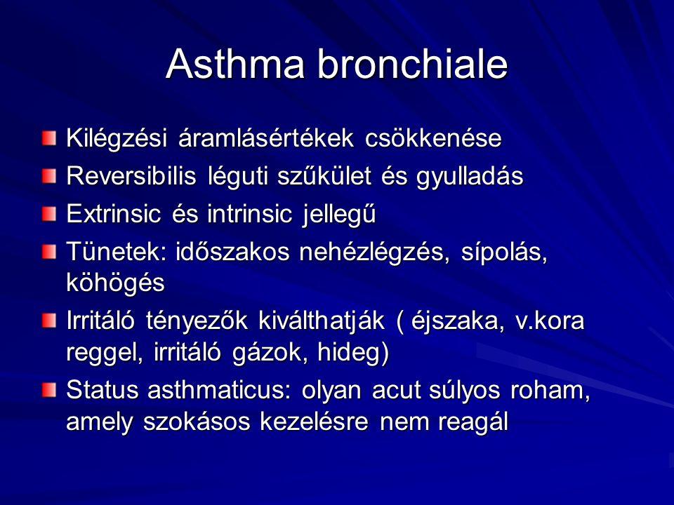 Asthma bronchiale Kilégzési áramlásértékek csökkenése Reversibilis léguti szűkület és gyulladás Extrinsic és intrinsic jellegű Tünetek: időszakos nehé