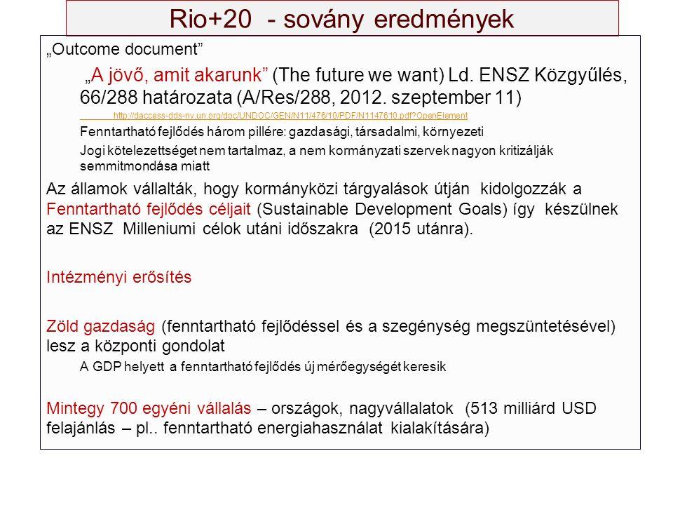 """Rio+20 - sovány eredmények """"Outcome document """"A jövő, amit akarunk (The future we want) Ld."""