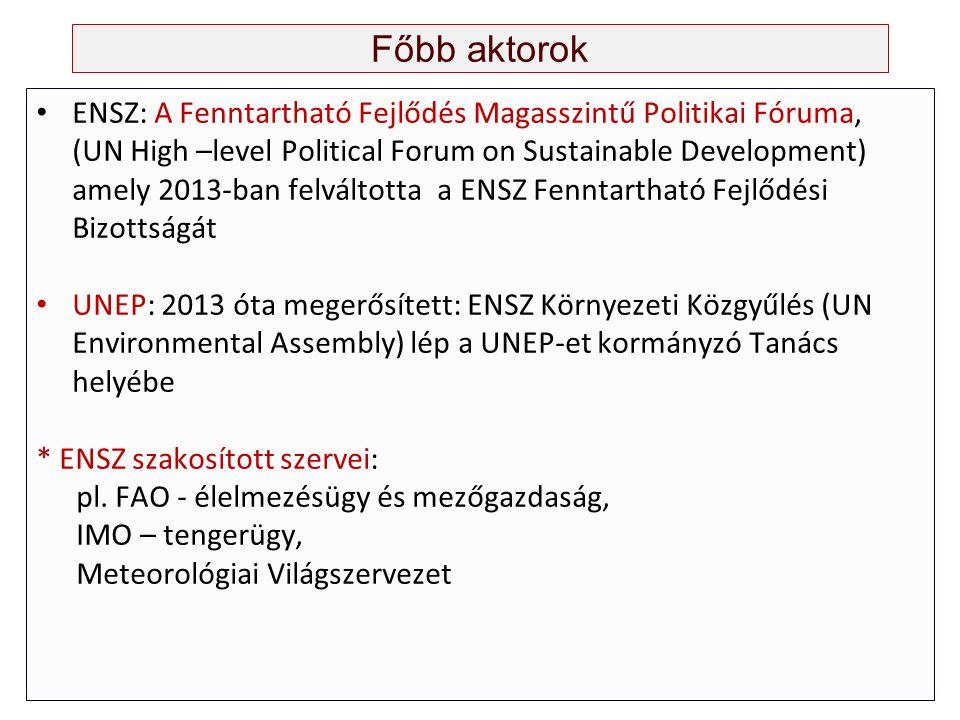 Főbb aktorok ENSZ: A Fenntartható Fejlődés Magasszintű Politikai Fóruma, (UN High –level Political Forum on Sustainable Development) amely 2013-ban felváltotta a ENSZ Fenntartható Fejlődési Bizottságát UNEP: 2013 óta megerősített: ENSZ Környezeti Közgyűlés (UN Environmental Assembly) lép a UNEP-et kormányzó Tanács helyébe * ENSZ szakosított szervei: pl.