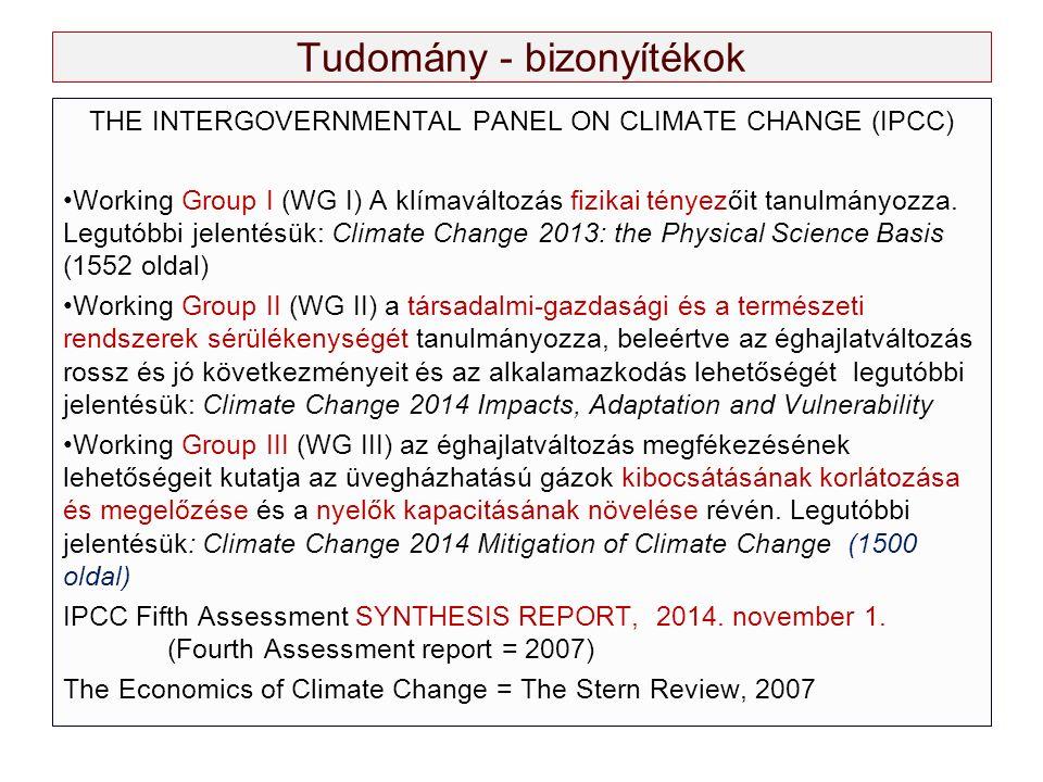 Tudomány - bizonyítékok THE INTERGOVERNMENTAL PANEL ON CLIMATE CHANGE (IPCC) Working Group I (WG I) A klímaváltozás fizikai tényezőit tanulmányozza.
