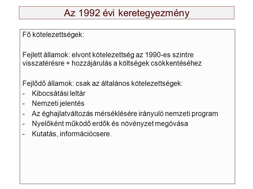 Az 1992 évi keretegyezmény Fő kötelezettségek: Fejlett államok: elvont kötelezettség az 1990-es szintre visszatérésre + hozzájárulás a költségek csökkentéséhez Fejlődő államok: csak az általános kötelezettségek: -Kibocsátási leltár -Nemzeti jelentés -Az éghajlatváltozás mérséklésére irányuló nemzeti program -Nyelőként működő erdők és növényzet megóvása -Kutatás, információcsere.